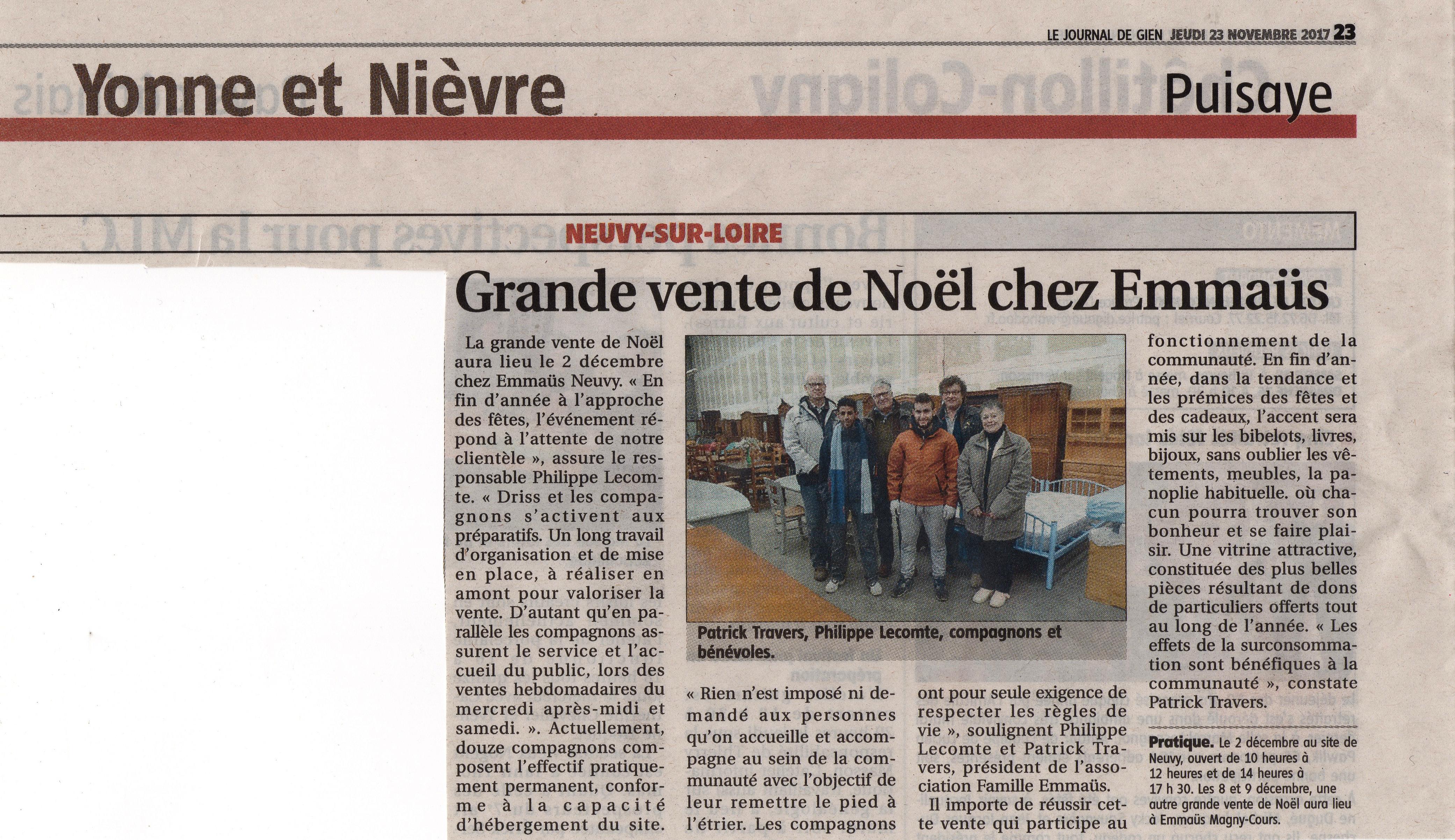 23 Nov 2017 Le Journal De Gien Emmaüs Nièvre